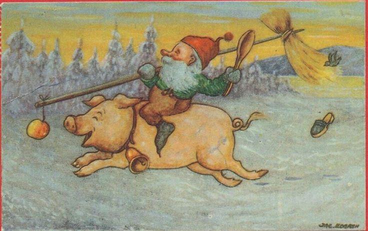 Julkort Jac Edgren tomte på gris
