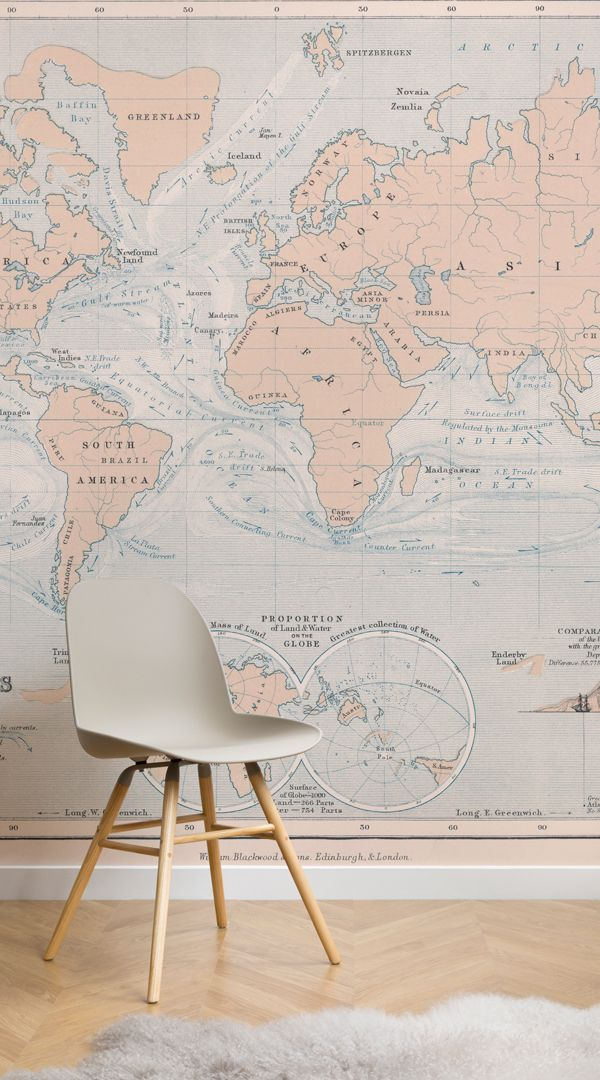 Ocean Currents Vintage Map Wall Mural Murals Wallpaper In 2020