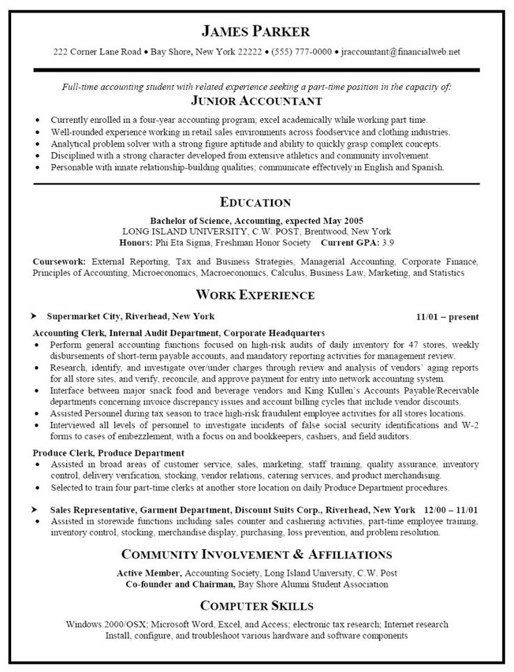 24 best Job Search images on Pinterest Resume, Sample resume and - resume for accounting internship