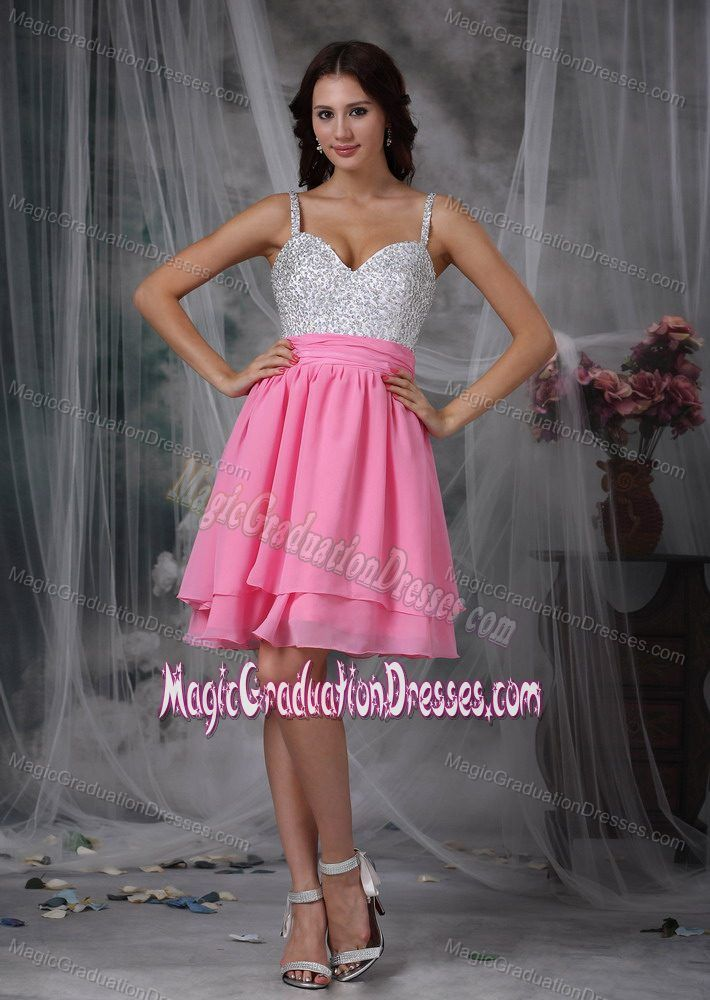 Pink and White Column Straps Beading Junior Grad Dress in Oaxaca Mexico