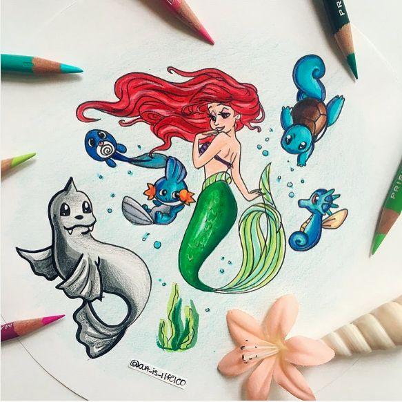 Ariel [as a mermaid], Dewgong, Poliwag, Mudkip, Squirtle & Horsea (Mash-Up by Art_Is_Life100 @Instagram) #TheLittleMermaid