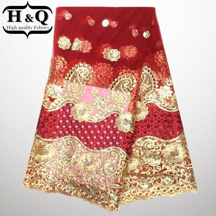 Высокое Качество Бесплатная доставка красивая Французский стиль Африканский Чистая Кружевной Ткани с золотыми блестками украшения для платья свадебная Мода