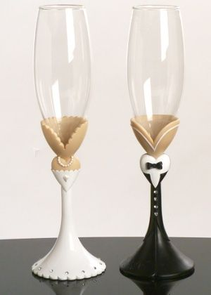 Black Tie Toasting Flutes from Wedding Favors Unlimited