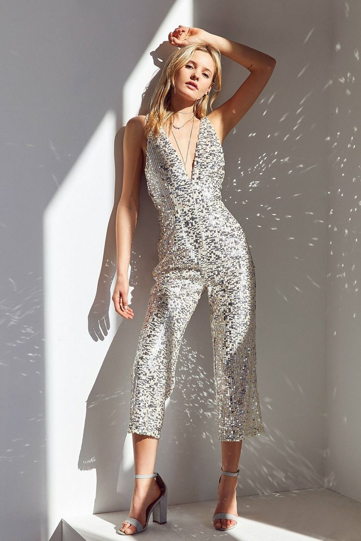 Slide View: 1: Rare London Plunging Sequin Jumpsuit