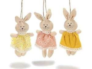 Coniglietto in stoffa da appendere con vestito colorato idea regalo casa | eBay