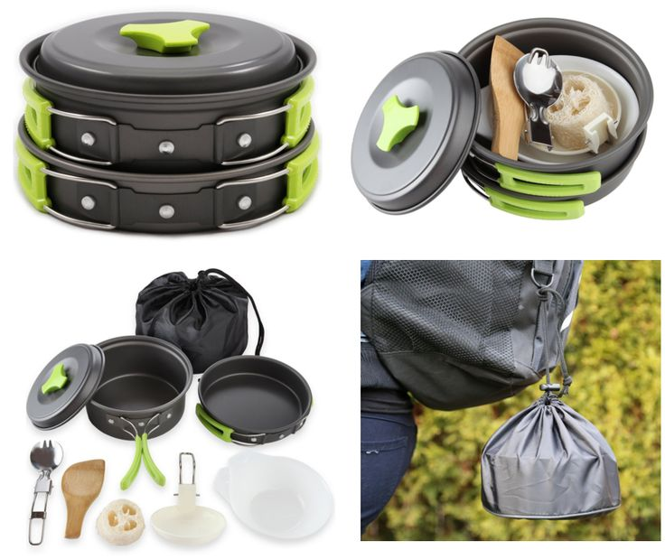 2 Survival Cooking Gear Kits I LOVE: 1 Camping Cookware Collapsible kit and the other a Bug Out Bag Stove that uses what's in NATURE as fuel! Love!