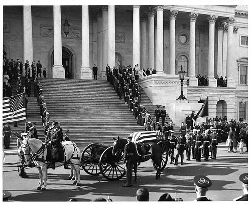 Day 4 - Arrival of the casket at the US Capitol, where it will lay in state in the Capitol Rotunda until the funeral the next day.