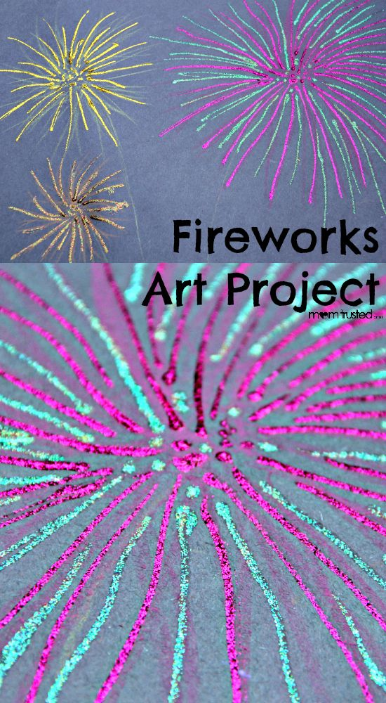 Fireworks Art Project for your kids on the 4th of July!