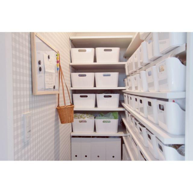 白が好き/ギンガムチェック/パントリー/パントリー内部/IKEA/収納…などのインテリア実例 - 2015-10-07 23:28:31 | RoomClip(ルームクリップ)
