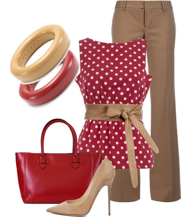 Red polka dot sleeveless top with brown bow belt and brown pants,