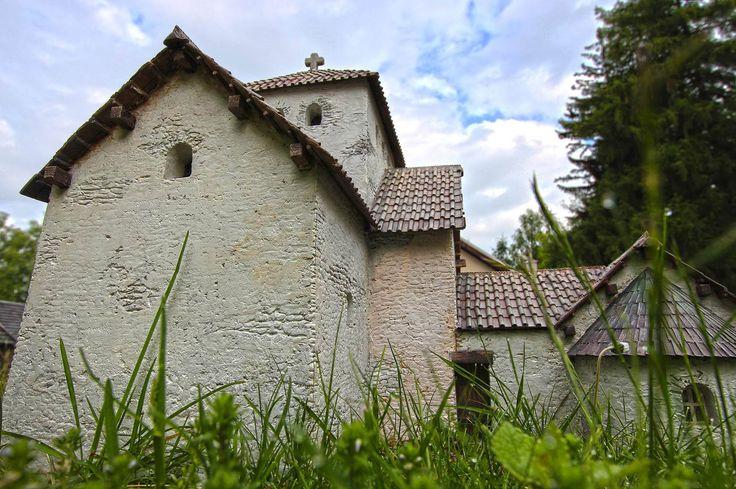 Model  Velké Moravy-Sady - Kostel panny Marie.  Church komplex Sady.