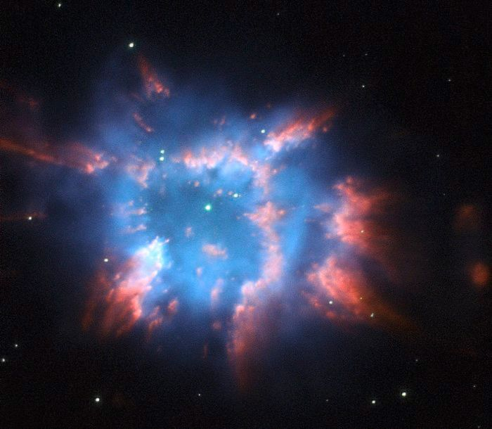 NGC 6326, a planetary nebula with glowing wisps of outpouring gas that are lit up by a central star nearing the end of its life. When a star ages and the red giant phase of its life comes to an end, it starts to eject layers of gas from its surface leaving behind a hot and compact white dwarf. This object is located in the constellation of Ara, the Altar, about 11 000 light-years from Earth.