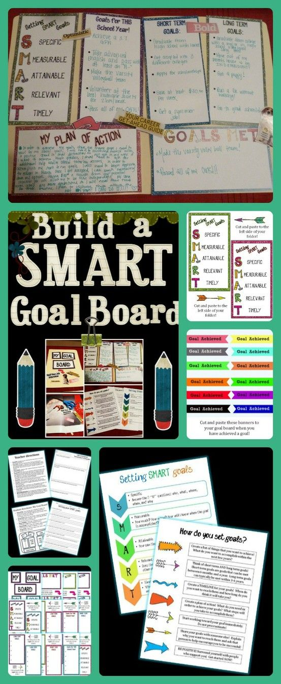Have your students build a SMART goal board using this product and manila folders!