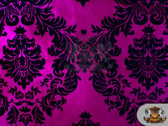 "Taffeta Damask Flocking Fabric 02 BLACK FUCHSIA Backing / 58"" Wide / Sold by the yard"