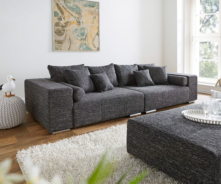 big sofa marbeya 280x115 cm schwarz couch mit kissen sofatr ume pinterest wohnzimmer. Black Bedroom Furniture Sets. Home Design Ideas