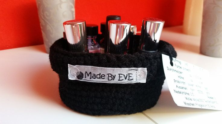 Körbe - Körbchen mit Umschlag S gehäkelt schwarz 10,5 cm - ein Designerstück von EvE-Paris bei DaWanda