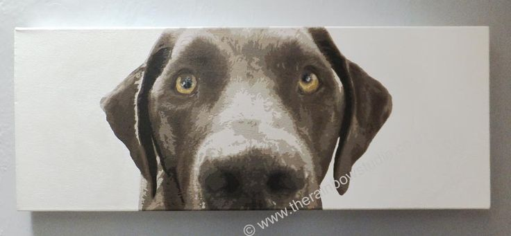 """Brown lab pet portrait, acrylic on 12""""x32"""" canvas by Emma Giles  www.therainbowstudio.co.uk commissions taken"""