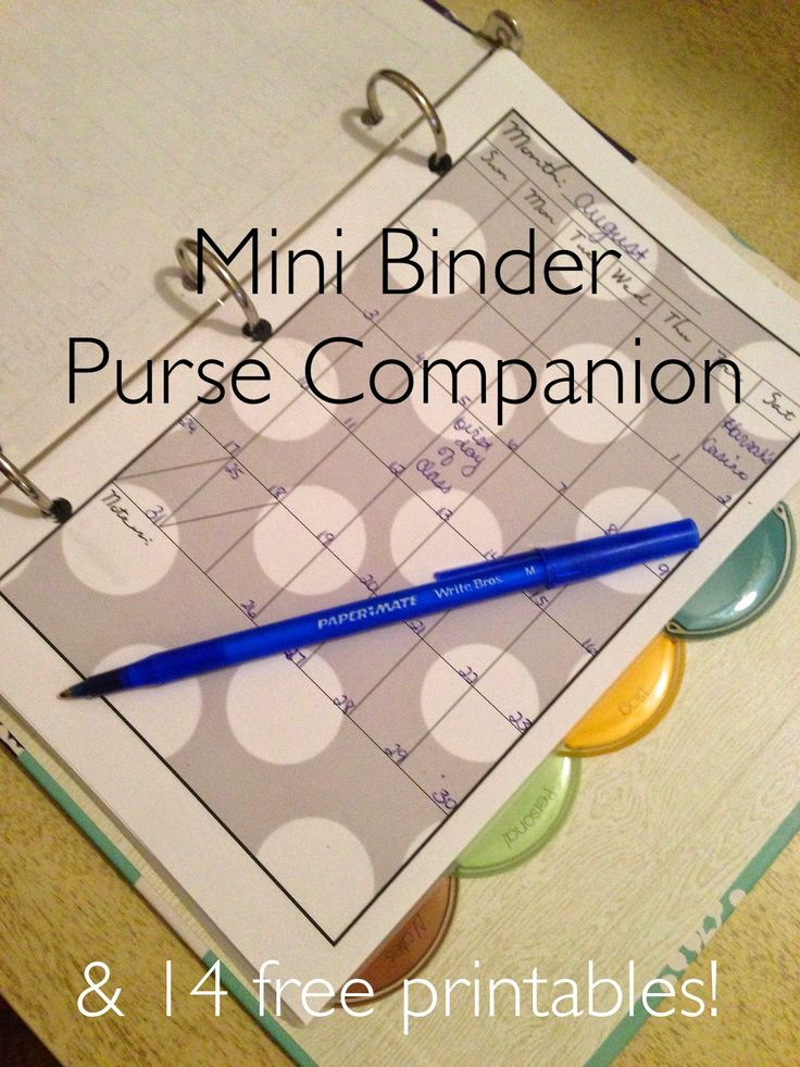 Mini Binder Purse Companion with Free Printables                                                                                                                                                                                 More