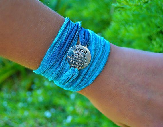 Silk Love Wrap Bracelet by HeartofGems on Etsy