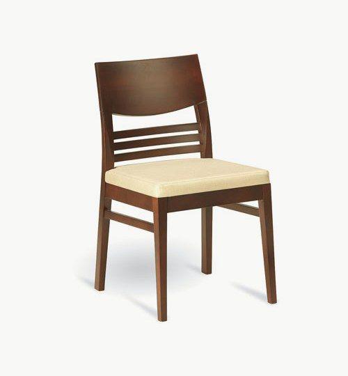Trästol med stoppad sits, många tyger samt träbets att välja på. Ingår i en serie med barstol och karmstol. Vikt 5,3 kg. Säljs i 2pack (2st). Pris anges (1st). Levereras monterad.  Tyg Lido, 100 % polyester, brandklassad. Tyg Luxury, 100 % polyester, brandklassad. Konstläder Pisa, brandklassad, 88,5% PVC, 11,5% polyester.