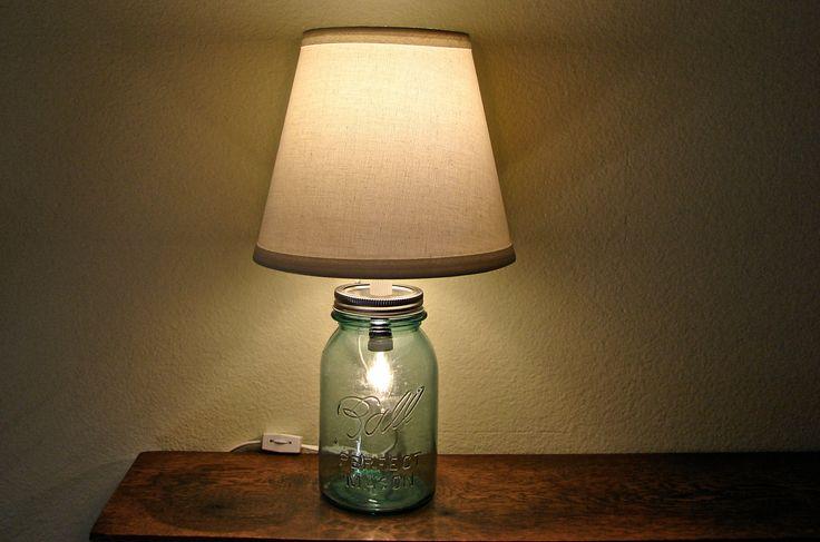 Discount  Vintage Blue Mason Jar Table Lamp - Two Bulbs - Works As Nightlight or Lamp. $40.00, via Etsy.