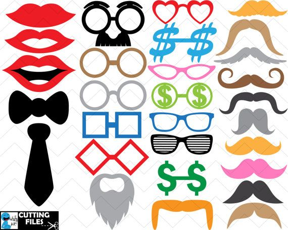 Glasses and mustaches V1  Cutting files SVG DXFEPS by HaHaHaArt