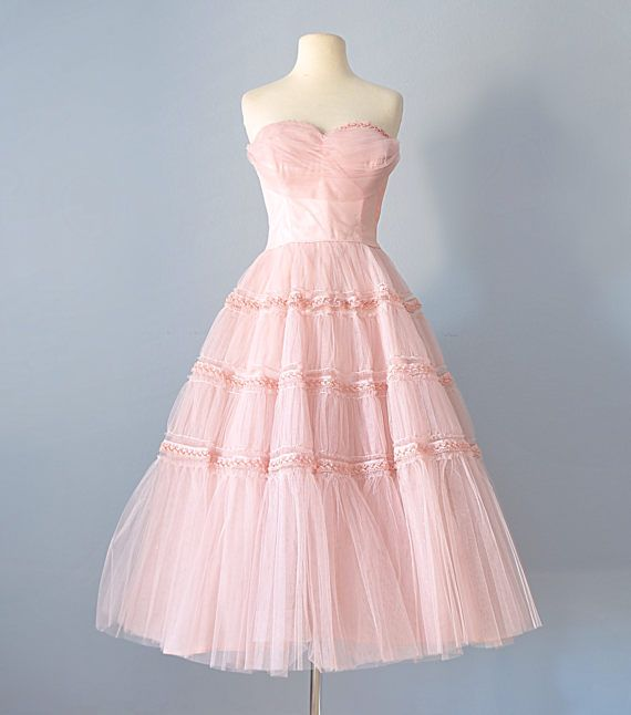 1950's Pink Tea Length Tulle Party Dress