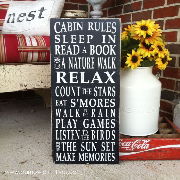 Cabin Rules Vintage Style Typography Word Art Sign. $95.00, via Etsy.