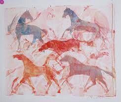 Kunstenaar: Jan Bezemer. Je ziet paarden die rennen, de paarden zijn duidelijk te zien en hebben allemaal een lichtere afdruk achter zich, zo lijkt het of ze bewegen, doordat je eigenlijk ziet waar ze vandaan komen.