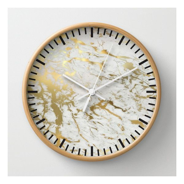 Gold Marble Wall Clock ($30) ❤ liked on Polyvore featuring home, home decor, clocks, wall clocks, gold home accessories, battery powered clock, battery powered wall clock, battery wall clocks and battery operated wall clock
