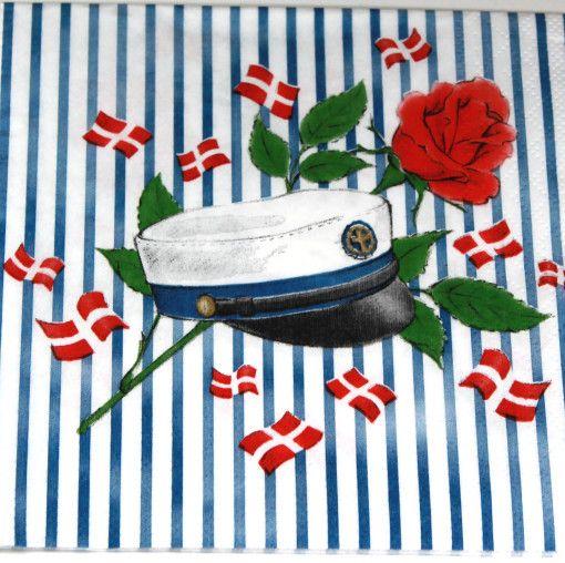 Flot serviet med striber og en blå studenterhue på. Antal pr. pakke: 20 stk.