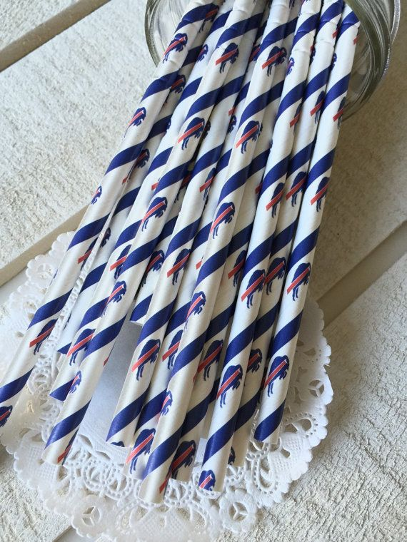 Buffalo Bills Paper Straws - Buffalo Bills Party Supplies, Birthday, NFL, Football, Red, Blue, Bills theme, Paper Straws, Tailgating