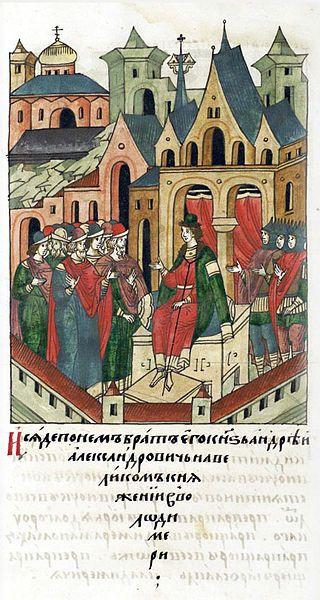 1293:Facial Chronicle - b.07, p.035 - Andrey Alexandrovich of Gorodets enthroned.И сел после него брат его, князь Андрей Александрович, на великом княжении во Владимире.