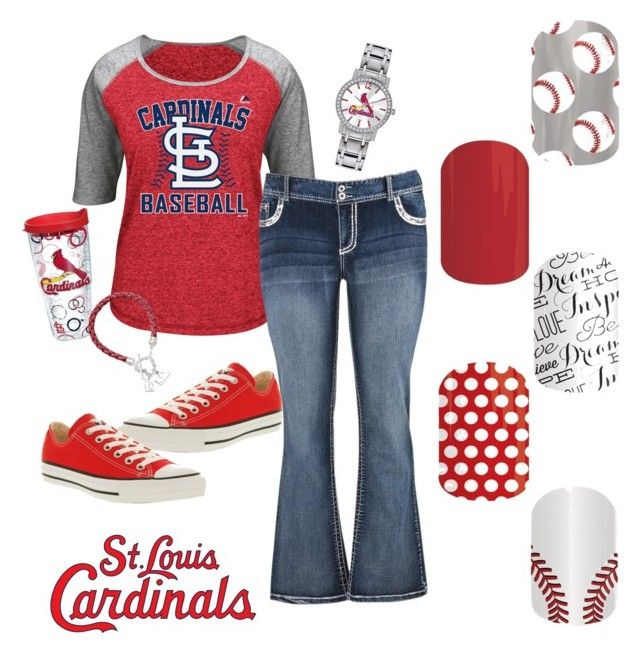 """St Louis Cardinals"" by jennibarrientos on Polyvore featuring Majestic, maurices, Tervis, Converse, LogoArt and Game Time"