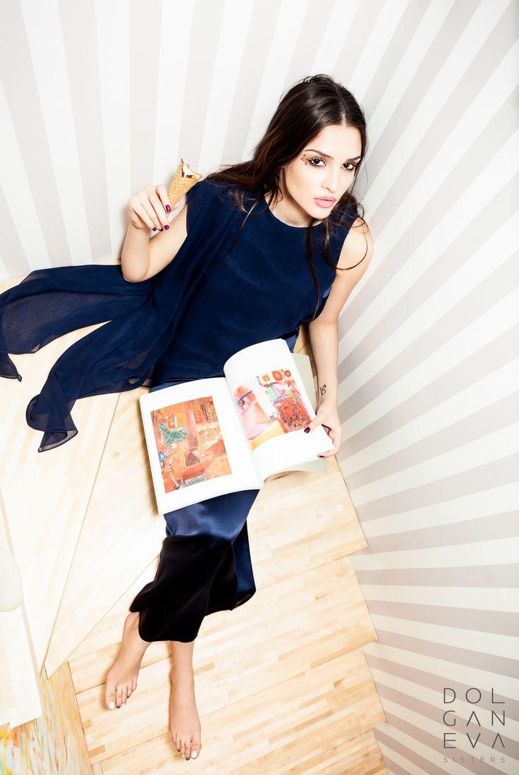 Платье  шелк / шелк-шифон. Silk dress / silk-chiffon