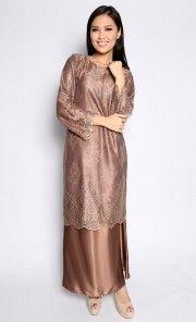 Lace Maching Baju Kurung in Dark Brown