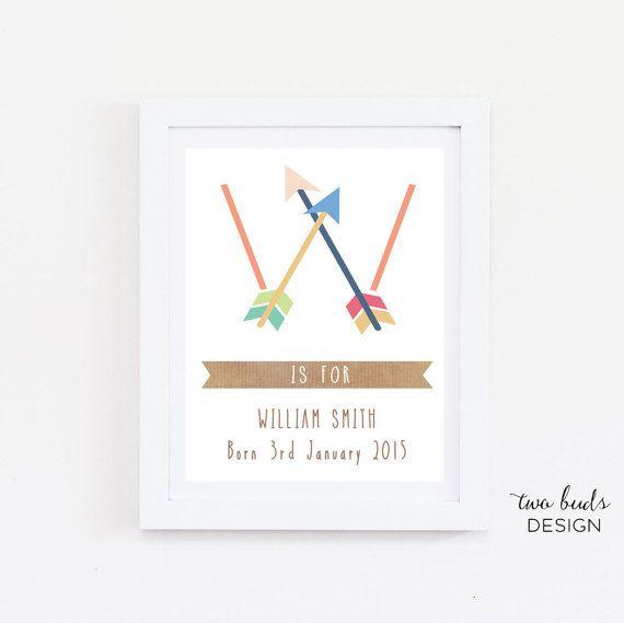 Custom Name Wall Art, Child, Nursery Art, Printable, Baby Name Art, Arrows, Love, Instant Download