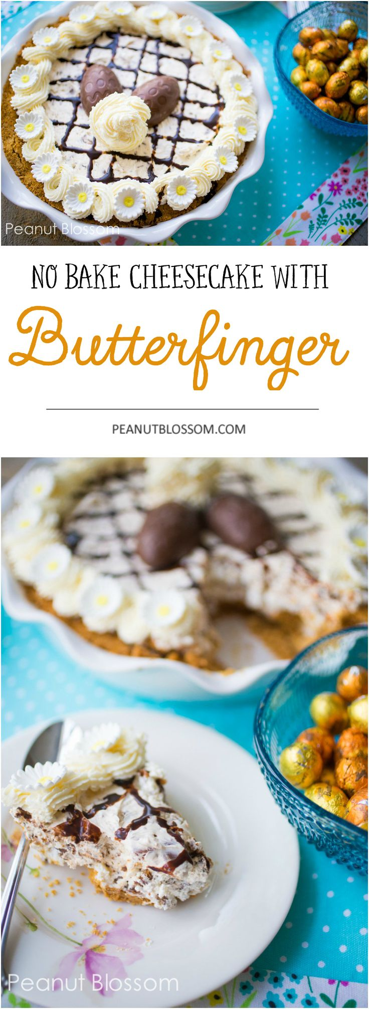 Easy no bake cheesecake with Butterfingers is the perfect Easter dessert recipe! Make it ahead and let it chill in the fridge until you're ready to serve. Creamy and chocolatey with plenty of crunchy candies inside. YUM. #easterdessert #nobakedessert