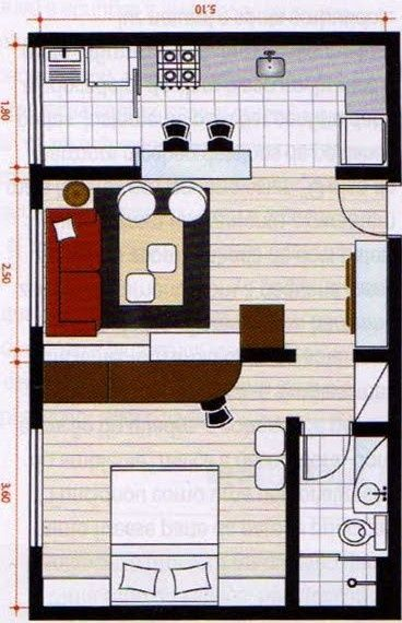 Small apartment studio layout: I'd switch the sitting area with the bed.