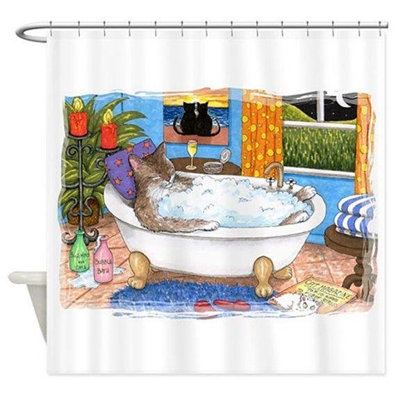 Funny Shower Curtains Art Shower Curtain Bathroom Cat 567 by artbyLucie