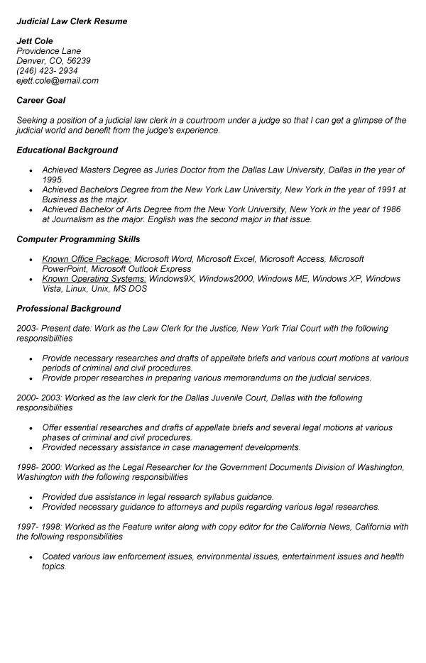 judicial law clerk resume