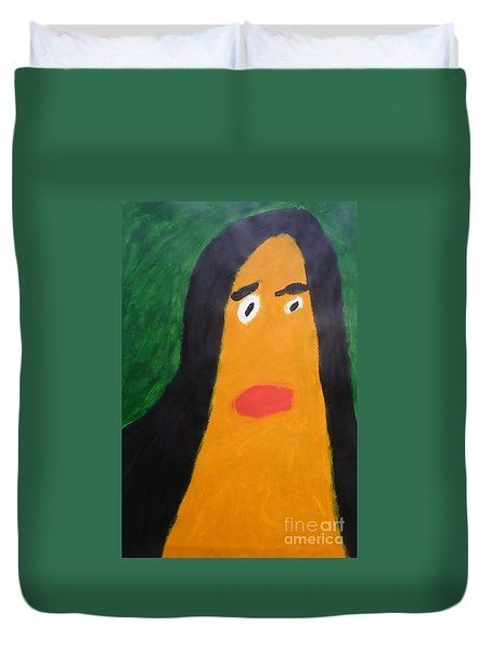 Duvet Cover featuring the painting Portrait Of Woman With Hair Loose 2015 - After Vincent Van Gogh by Patrick Francis