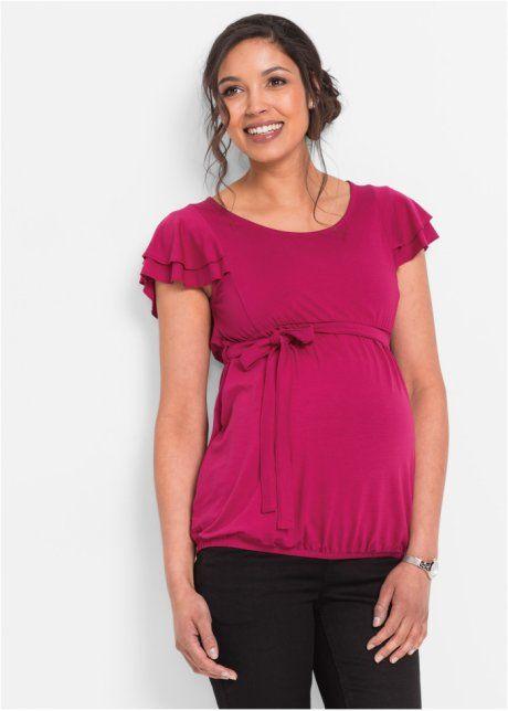Slavnostní těhotenské tričko, bpc bonprix collection, bobulově červená