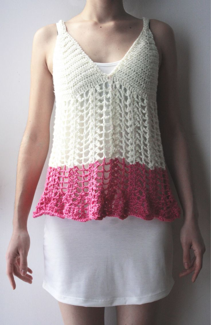 Blusa natural y rosa, tejido crochet artesanal.