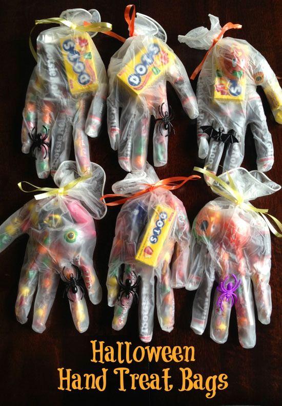 Halloween hand treat bags