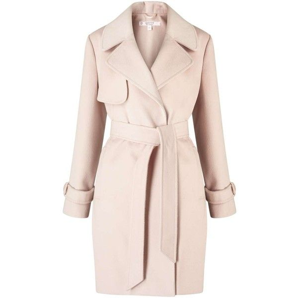 Miss Selfridge PETITE Pink Wrap Coat (£52) ❤ liked on Polyvore featuring outerwear, coats, jackets, coats & jackets, petite, pink, miss selfridge, pink coat, miss selfridge coats and petite wrap coat
