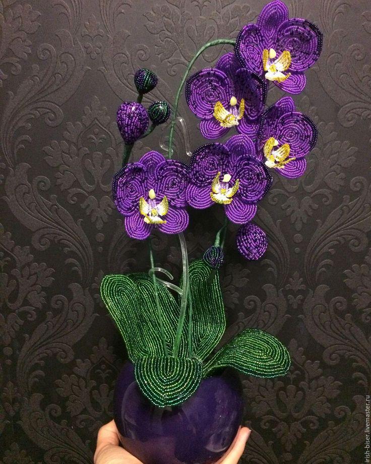 Купить Орхидея из бисера - тёмно-фиолетовый, цветы, цветы ручной работы, цветы из бисера, интерьер