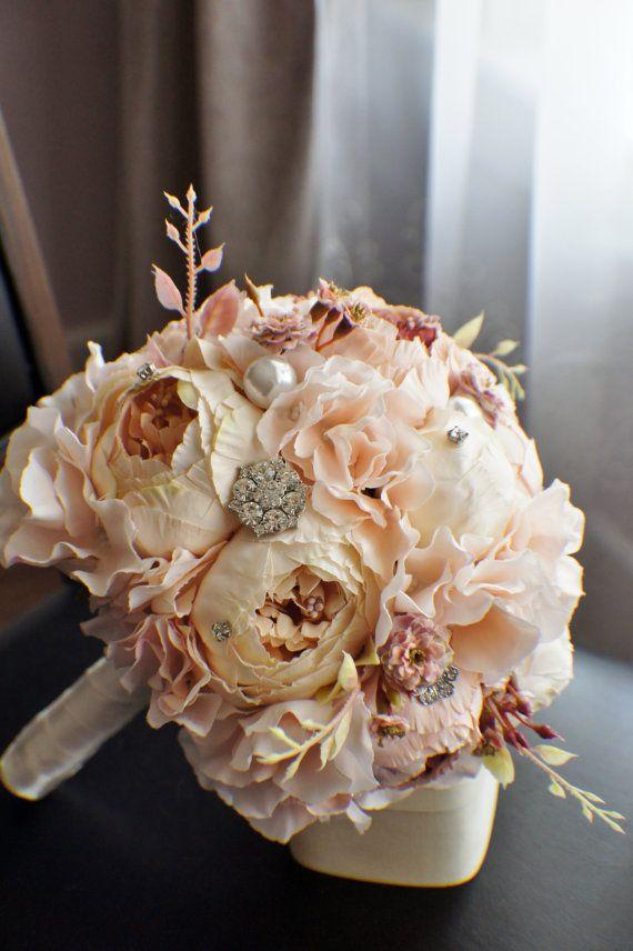 Bouquet da sposa di peonia, seta sposa fiori, spilla Bouquet, Champagne nozze fiori, matrimonio Vintage, Shabby Chic, matrimonio sposa fidata