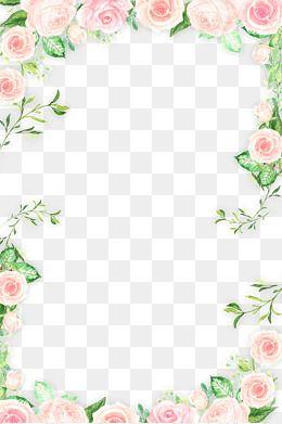 Romantic Pink Flower Border PNG