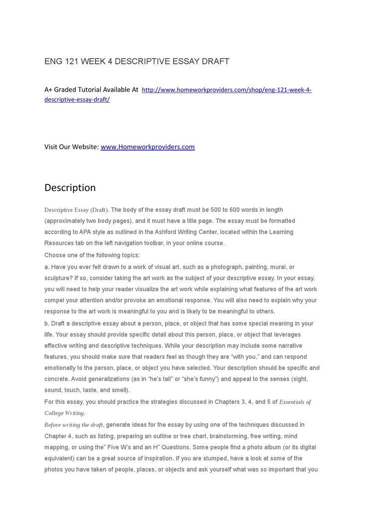 Descriptive essay california